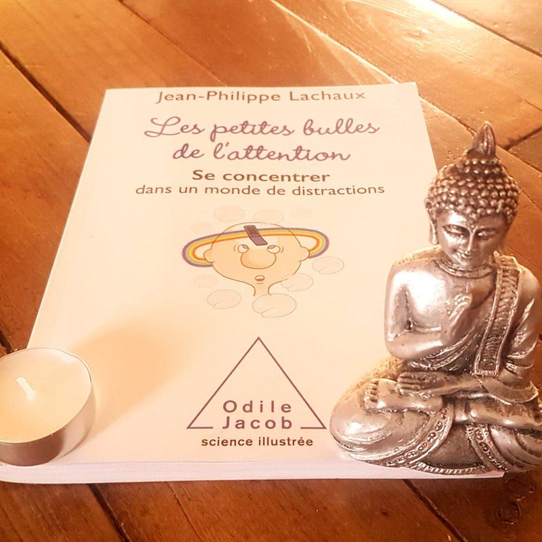 livre se concentrer dans un monde de distractions, bougies et bouddha